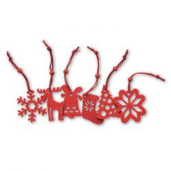 Set de 6 agatatori pentru pomu, Polyester, red