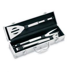 Cutie al. cu accesorii gratar, Aluminium, silver