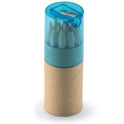 12 creioane colorate in tub, Wood, transparent blue