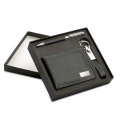 Set cadou:pix+breloc+portmoneu, PU, black