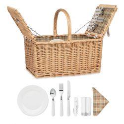 Cos picnic rachita 4 persoane, Item with multi-materials, wood