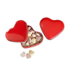 Cutie forma inima cu bomboane, Plastic, red