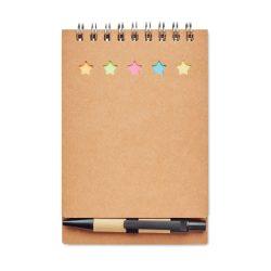 Carnetel cu pix/notite adezive, Paper, beige