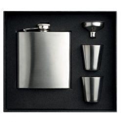 Sticla de buzunar cu paharele, Stainless steel, matt silver