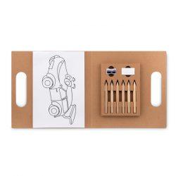 Set pt colorat cu 6 creioane, Item with multi-materials, beige