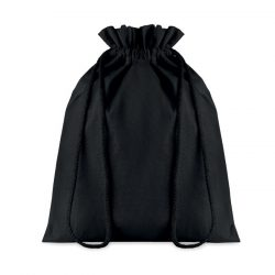 Punga medie din bumbac cu snur, Cotton, black