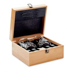 Set pt whisky in cutie bambus, Item with multi-materials, wood