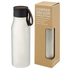 Ljungan 500 ml copper vacuum insulated stainless steel bottle with PU leather strap and lid