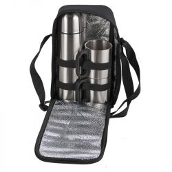 HAPPY OUTING thermos set and 2 thermo cups in shoulder bag,  silver/black
