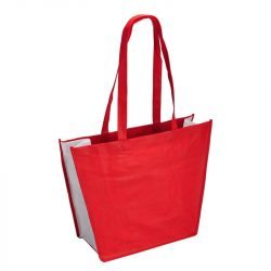 SHOPPING shopping and beach bag made of nonwoven fabric,  red