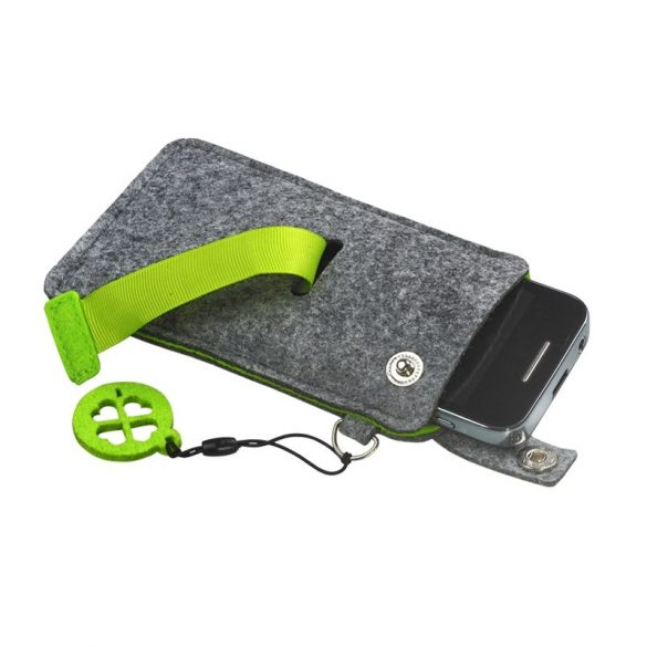 ECO MOBILE felt mobile phone case,  green/grey