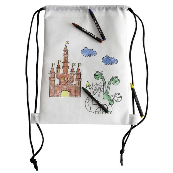 WHITE LINE BACK apron with wax crayons,  white