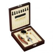 SUBLIME wine set and chess,  brown/silver