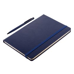 ABRANTES set of scrapbook and ballpoint pen, dark blue