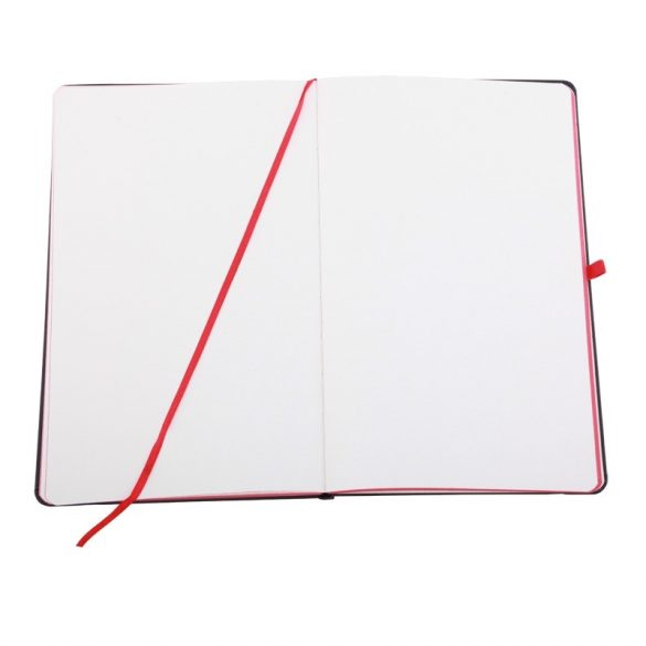 BADAJOZ notebook with clean pages 130x210 / 160 pages,  black/red