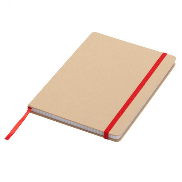 LISBOA notebook with squared pages 145x210 / 160 pages,  red/beige