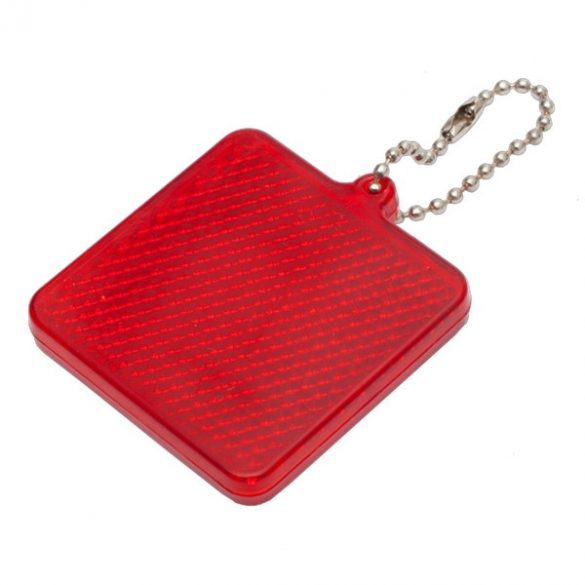 SQUARE REFLECT key ring,  red