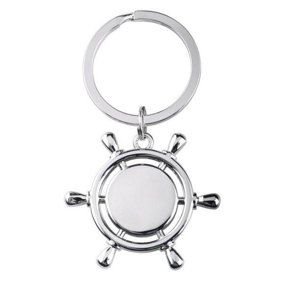 STEERING WHEEL metal key ring,  silver