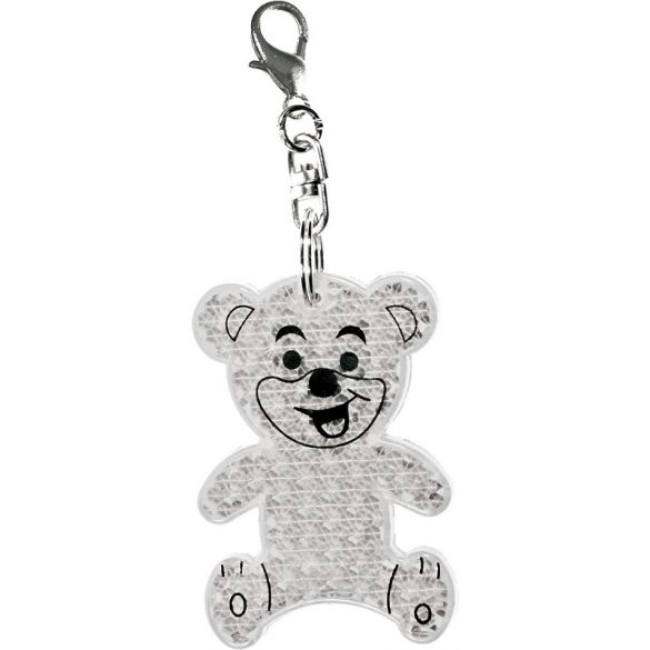 TEDDY RING reflective key ring,  transparent