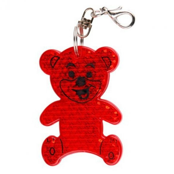 TEDDY RING reflective key ring,  red