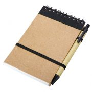 ECO RIBBON notebook with clear pages 90x140 / 140 pages with pen,  black/beige