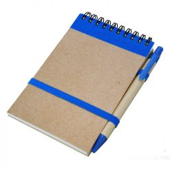 ECO RIBBON notebook with clear pages 90x140 / 140 pages with pen,  blue/beige