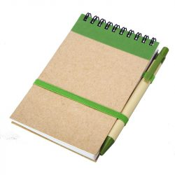 ECO RIBBON notebook with clear pages 90x140 / 140 pages with pen,  green/beige