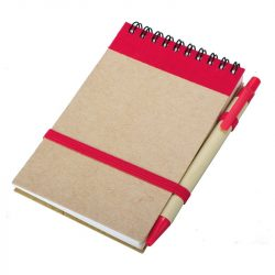 ECO RIBBON notebook with clear pages 90x140 / 140 pages with pen,  red/beige