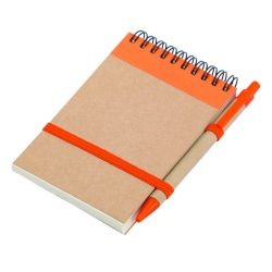 ECO RIBBON notebook with clear pages 90x140 / 140 pages with pen,  orange/beige
