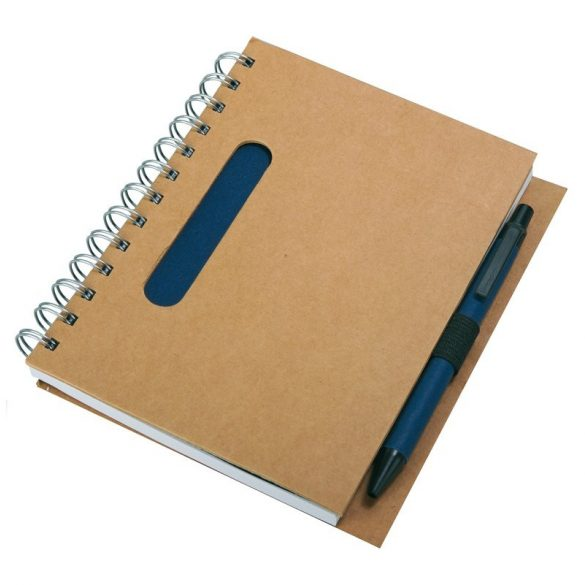 ECO  notebook with clean pages 150x175 / 140 pages with pen,  dark blue/beige