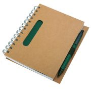 ECO notebook with clean pages 150x175 / 140 pages with pen,  green/beige