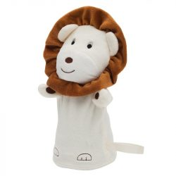 LION plush hand puppet,  beige/brown