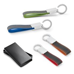 LESKOV. Keyring in metal and imitation leather