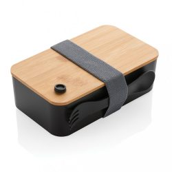 PP lunchbox with bamboo lid & spork, black