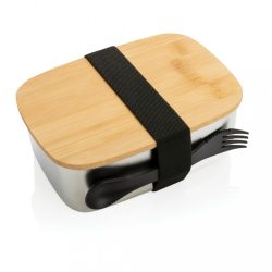 Stainless steel lunchbox with bamboo lid and spork, silver