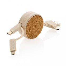 Cork and Wheat 6-in-1 retractable cable, brown