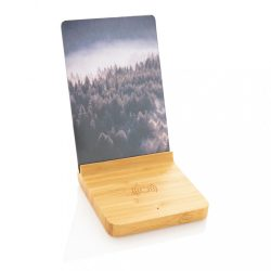 Bamboo 5W wireless charger with photo frame, brown