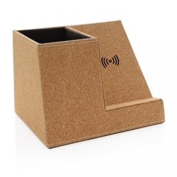 Cork pen holder and 5W wireless charger, brown