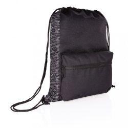 AWARE™ RPET Reflective drawstring backpack, black