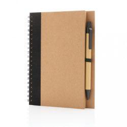 Kraft spiral notebook with pen, black