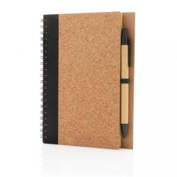 Cork spiral notebook with pen, black