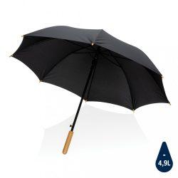 "23"" Impact AWARE™ RPET 190T auto open bamboo umbrella, black"